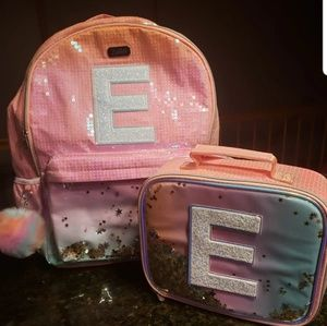 New Justice ombre shaky Initial E Backpack Set